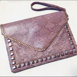 NWT Taupe reptile print gold studded clutch